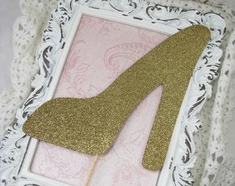 High Heel Centerpieces, Bridal Shower, Shoe, Girls Night Out, Bachelorette Party Decorations, Vase Picks, Floral Arrangement Picks, Gold - 6