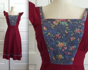 70s Vintage Corduroy Calico Patchwork Pinafore Dress // Size S