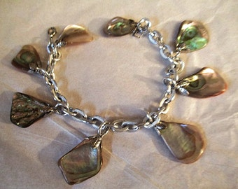 Beautiful Abalone Shell Charm Bracelet Summer Beach Vintage Handcrafted Charming