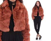 70s Cropped Fluffy Rabbit Fur Jacket Rusty Brown Soft Silky Coat Boho Chic Clothing 90s Style Vintage Outerwear Women's Size Small Medium