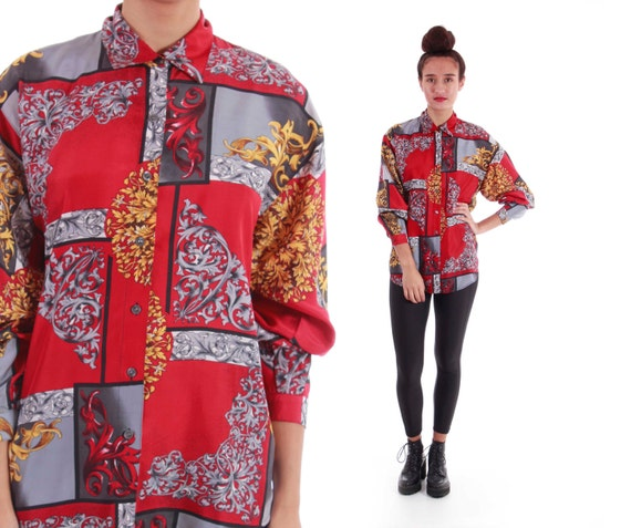 90s Silk Abstract Red Gold Gray Baroque Royal Swag Button Down