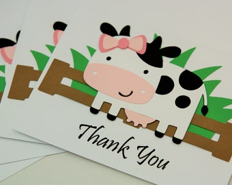 THANK YOU Cards - Cow Farm Party - Thanks Card & Matching Envelope - Blank Inside - Barnyard Birthday - Horse / Pig / Sheep Farm Friends