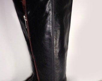 Frye 77238 Black Tall Zip Motorcycle Boots Women's Size 6