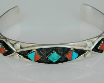 Native American Navajo Vintage TurquoiseRed  Coral Sterling Silver Cuff Bracelet SALE!