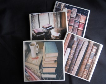Book Coasters ~ Book Worm ~ Book Lover ~ Ceramic Tile Coasters ~ Drink Coaster ~ Housewarming Gift ~ Vintage Books ~ Librarian Gift