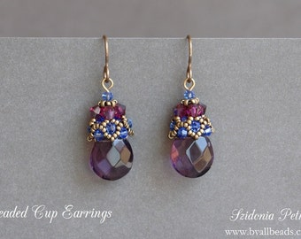 Beaded Earrings Tutorial - Beaded Cap Earrings - Beaded Cone - Briolette Earrings - Digital Download