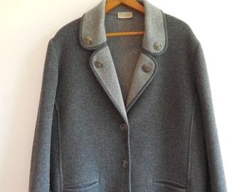 Vintage Ladies 80s Grey Wool Cocoon Coat