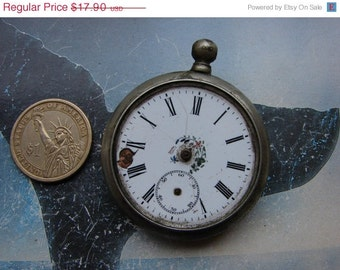 Antique Pocket watch with porcelain dial Altered Art Assemblage Industrial  / old pocket watch case // project ready findings  PW51