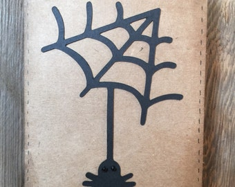 Homemade spider with web Halloween card