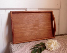 Vintage Teak Wood Serving Tray Mid Century Home Decor Country Cottage Farmhouse