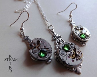 10% off sale16  Steampunk Jewelry set in Green - Steampunk wedding set - Steampunk Necklace & Earrings -Christmas gift