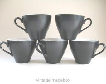 J & G Meakin black cups Set of 5, vintage tableware, 1950s 1960s ceramics, Mid Century mod style pottery
