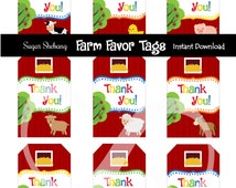 Farm Party Favor Tags - INSTANT DOWNLOAD! Farm Party Supplies - Barnyard Birthday Party