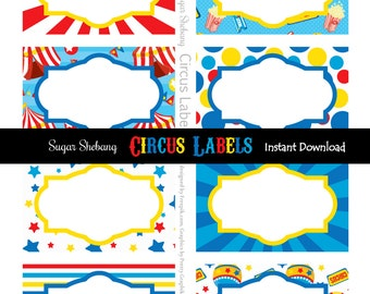 Circus Food Labels - Instantly Downloadable and Editable File!! Personalize and Print at home with Adobe Reader NOW! - Circus Party Supplies