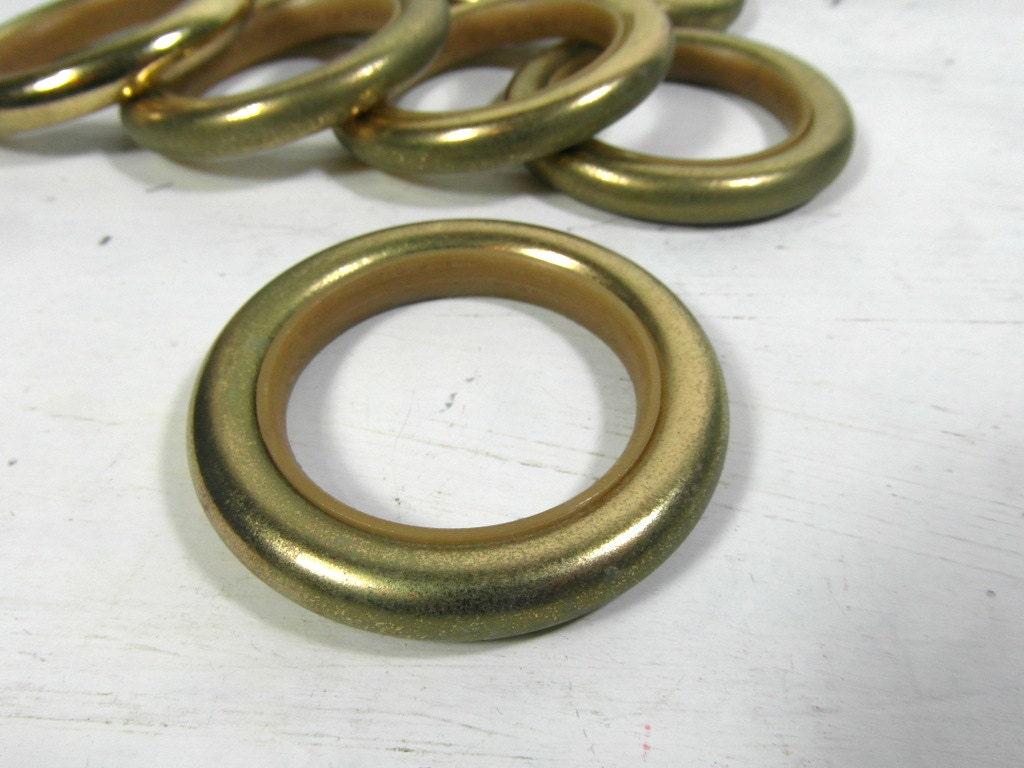 8 metal curtain rings drapery rings vintage gold