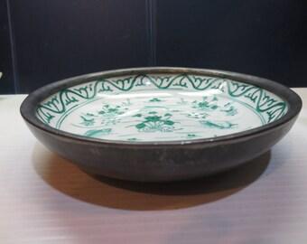Vintage ACF Japanese Porcelain Ware Pewter Encased Decorative Bowl