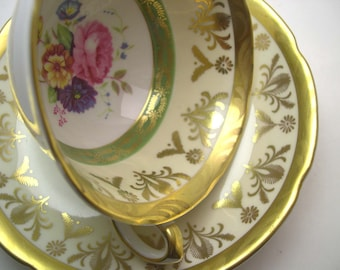 Antique Royal Grafton Tea Cup & Saucer , English bone china, Gold scroll, Green and gold wide Mouth tea cup.