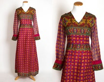 "Vintage 70s INDIAN COTTON GAUZE Medallion Maxi Dress | 1970s Bohemian Red Heart Long Sleeve Hippie Festival Dress (s 27"" waist)"