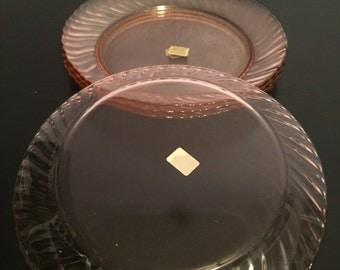 Rosaline Pink Swirl Arcoroc French Glass Set of FOUR 4 Salad Plates