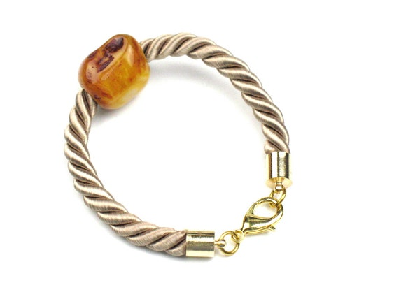 Amber Rope Bracelet in Fall Colours with Beige Twisted Cord and Gold Lobster Clasp