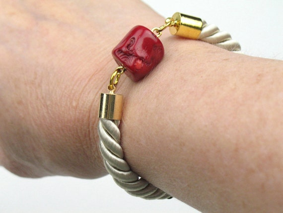 Rope Bracelet in Beige Twisted Cord with Red Coral and Gold Accents / Womens Artisan Fall Jewelry / Gift for Her