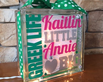 Big Little Sorority Greek Life GemLight, Personalized in Your Colors