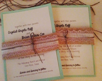 Rustic Wedding Invitation Mint with Ivory Lace and natural burlap Belly Band -100 invitations
