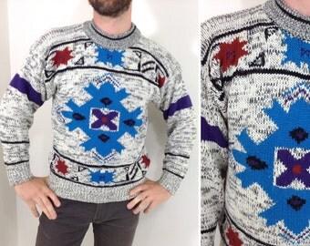 Vintage Grey & Turquoise Snowflake Pattern Sweater