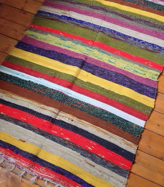 Rag Rug Large: Fair Trade Indian Woven Large Rag Rug Chindi By Bohemiyanauk