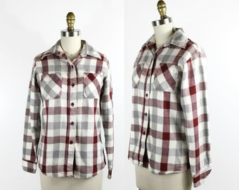 Vintage Plaid Shirt / Womens Plaid 1970s Button Up Blouse in Red and Gray