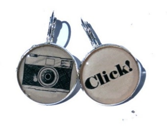 Camera Earrings, Photographer Gift, Camera Jewelry, Photographer Camera Earrings, cabochon earrings
