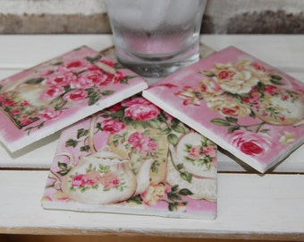 Set of 4 Tile Coasters-Vintage Teapots and Roses, Shabby Chic, Cottage Chic