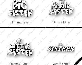 Word Charms, Big Sister, Middle Sister, Little Sister, Big Sis, Lil' Sis, Mother, Mom, Grandma, Grandpa, Madre
