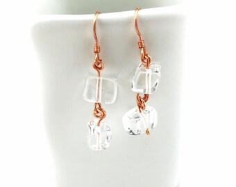 Mini Ice Rock Crystal Earrings Tsalagi Cherokee Made