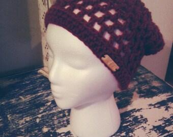 Burgundy Crochet Slouch Hat