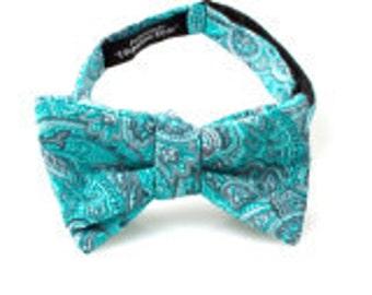 Turquoise Paisley Self Tie Bow Tie