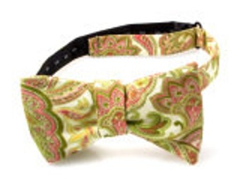 Pink and Green Paisley Self Tie Bow Tie