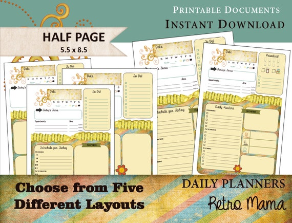 Calendar Planner Refill Pages : Items similar to calendar printable daily planner pages