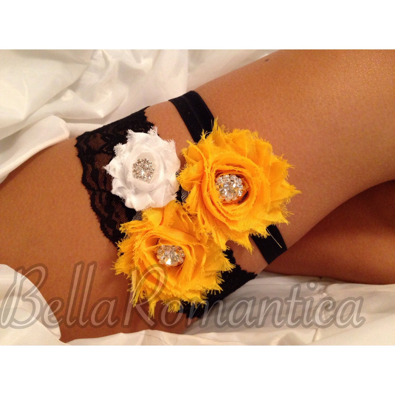 Yellow Wedding Black And Yellow Garter Set Bridal Garter