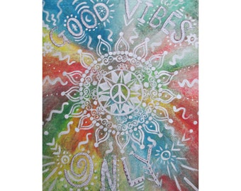Good Vibes Only Print - Bohemian Art - Boho Home Decor - Hippie Art - Hippie Painting - Hippie Decor - Inspirational Quote Art