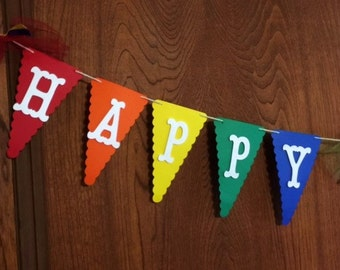 Rainbow Happy Birthday Banner, Rainbow Colors, Congratulations, Wedding, ANYTHING