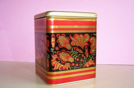 Vintage Metal Tea Container Tin For Home Kitchen Decor