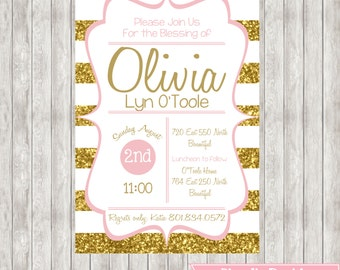 LDS Baby Blessing Invite - Gold & Pink