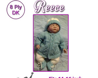 REECE Knitting pattern to fit 14 to 16 inch reborn doll or prem baby