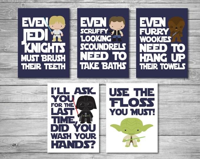 Star Wars Bathroom Digital Downloads - Navy Blue, Printable Art, Bathroom, Home Decor, Gift for Her, Gift for Him, Star Wars Gift