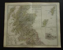 "Antique map of Scotland - large original 1864 hand-colored print - vintage poster Shetland Orkney islands Edinburgh Ecosse - 37x45c 14x18"""