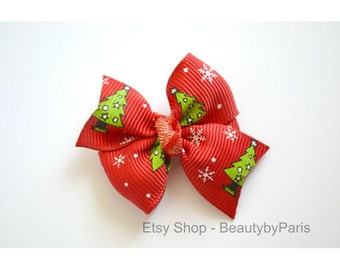 Christmas Tree Pinwheel Dog Bow