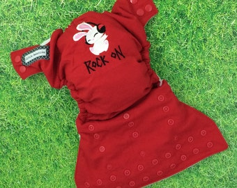 One size pocket / Rock Out Bunny embroidery / cloth diaper / snaps / Little Beasties / adjustable elastic & leg gussets