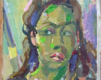 VINTAGE Oil Painting, Portrait in Green