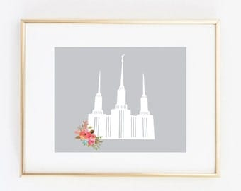washington dc lds temple floral 8x10 art print instant download